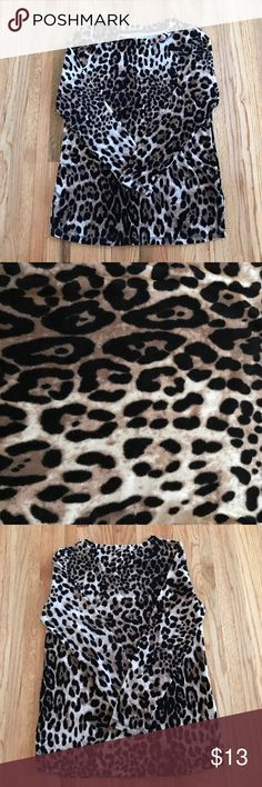 Leopard Sweater Leopard Soft & Cozy Sweater By White Stag! Size:Small.(4-6). Gently used once. Colors are black & tan/Beige leopard print. Crew neck. Long sleeves. 2 small side slits on each side. Pair with leggings & boots for a chic look! 76% cotton. 24% polyester. Machine wash. Tumble dry. NO TRADES. White Stag Sweaters Crew & Scoop Necks
