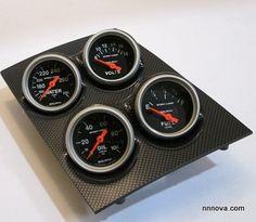 1968-1974 Nova Console Carbon Fiber Finish Quad Pod with Auto Meter Sport Comp Electric Gauges