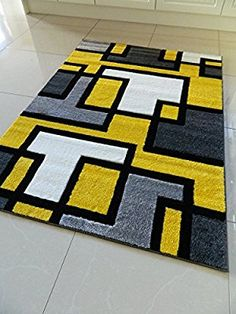 YELLOW BLACK SILVER GREY OFF WHITE SMALL MEDIUM XX LARGE RUG NEW MODERN SOFT THICK CARVED CARPET NON SHED RUNNER BEDROOM LIVING ROOM AREA RUG MAT (160 x 225 cms) Living Room Area Rugs, Living Room Carpet, Funky Rugs, Colorful Rugs, Carpet Flooring, Rugs On Carpet, Carpets, Tapetes Diy, Mellow Yellow