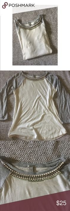 J. Crew Jeweled Baseball Tee. J. Crew Embellished Baseball style T-shirt. None of the embellishments are missing. Perfect condition. 100% Cotton. Size Medium J. Crew Tops Tees - Long Sleeve