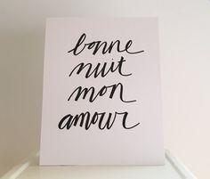 Bonne Nuit Mon Amour by DOWNRIVERCREATIVECO on Etsy
