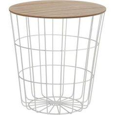 Stolik metal drewno kosz stołek SCANDI 42cm biały