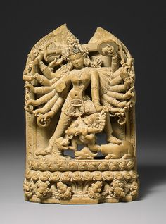 The Goddess Durga Killing the Buffalo Demon, Mahisha (Mahishasuramardini), Pala period (ca. 700–1200), 12th century. Bangladesh or India. The Metropolitan Museum of Art, New York. Purchase, Diana and Arthur G. Altschul Gift, 1993 (1993.7) #hands #Connections