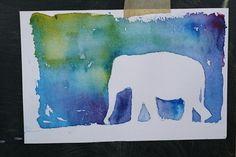 Imprimer les photos d'animaux ou un sujet avec une silhouette intéressante   Papier d'aquarelle  Les peintures d'aquarelle (2-3 coul...