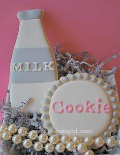 Milk and Cookie Decorated Sugar Cookies via Etsy