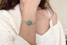 Raw Aquamarine Bracelet March Birthstone Bracelet Rough