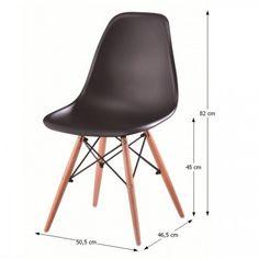 Modern műanyag szék, bükk - fekete - FJORD