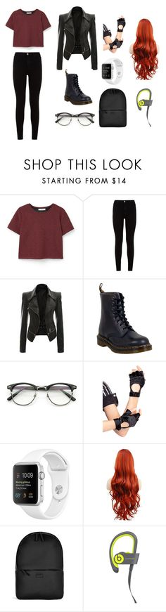 """""""Sin título #57"""" by polettvalenzuela ❤ liked on Polyvore featuring MANGO, 7 For All Mankind, Dr. Martens, Leg Avenue and Rains"""
