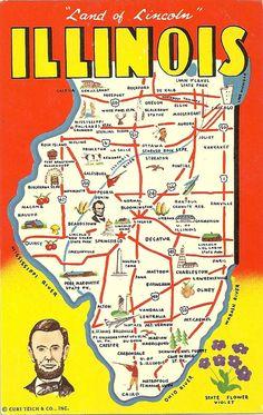 Vintage Illinois State Map Postcard