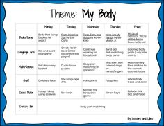 Tot School Weekly Recap: My Body - Lessons and Lilies # daycare lesson plans Preschool Body Theme, Preschool Weekly Themes, All About Me Preschool Theme, Daycare Themes, Preschool Lessons, Monthly Themes, Preschool Crafts, Preschool Checklist, Daycare Schedule