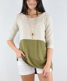 Look what I found on #zulily! Olive & Beige Colorblock Three-Quarter Sleeve Tunic - Plus Too #zulilyfinds