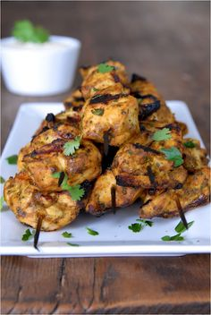 Grilled Tandoori Chicken Skewers...totally using this recipe with Gardein veggie chicken tenders