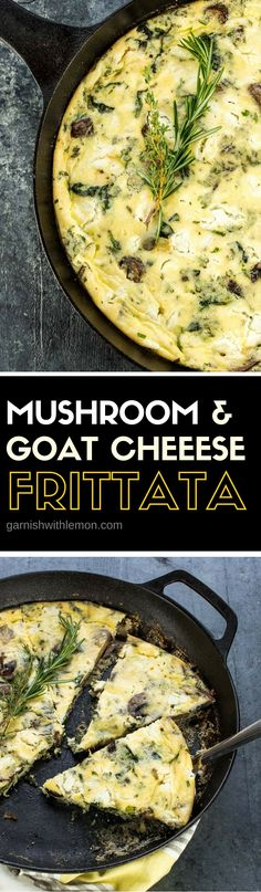 This savory Mushroom and Goat Cheese Frittata recipe is one of the tastiest ways to serve eggs to a group of people. ~ http://www.garnishwithlemon.com