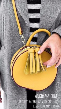 """This bag fits perfectly into your autumn wardrobe, and will serve as a bold accent, causing admiration. Lady Anne - """"Small, but with a character. In the trendy color goldenrod for you. visit www.AnkoBags.com to view all our new arrivals. FREE WORLDWIDE SHIPPING!!!"""