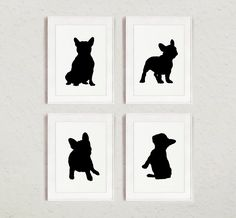 French Bulldog Silhouettes set of 4, Frenchie Sign Wall Art Print, Dog Room Decor, Custom Black Figurines by Silhouetown on Etsy https://www.etsy.com/listing/223354053/french-bulldog-silhouettes-set-of-4