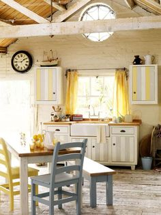 Love it.. Grey and yellow cottage kitchen