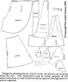 La moitié du schéma de coupe pour la robe de soirée 1912 Frocks pour Noël
