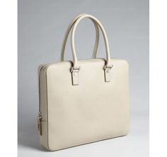 Salvatore Ferragamo beige wood-grained leather top handle briefcase