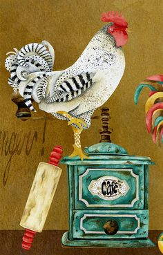 Art Print Rooster Whimsies by studiopetite on Etsy Chicken Painting, Chicken Art, Arte Do Galo, Rooster Art, Chickens And Roosters, Animal Sketches, Decoupage Paper, Kitchen Art, Collage Art