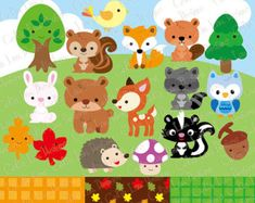 Premium Woodland Animals Clip Art & Vectors by AmandaIlkov