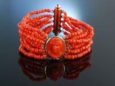 Amazing Antique Coral Bracelet Cameo! Biedermeier Koralle, Armband Sardegna Kamee Korallenarmband Neapel um 1850