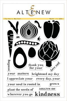 This modern take on fruits and veggies allows you to stamp two-step carrots, peppers, avocados, artichokes, and onions. Their large scale makes them great for scrapbooks or cards, and the accompanying sentiments aim to spread kindness. www.altenew.com
