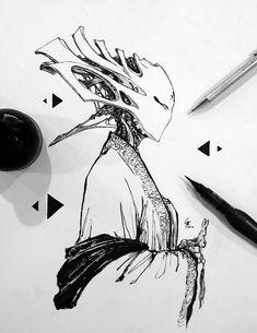 Monster Concept Art, Alien Concept Art, Cool Art Drawings, Art Sketches, Ink Illustrations, Illustration Art, Concept Art Tutorial, Pen Art, Art Reference Poses