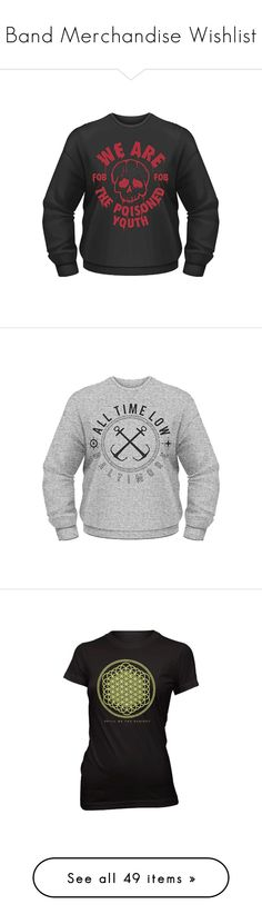 """""""Band Merchandise Wishlist"""" by the-freak-of-nature ❤ liked on Polyvore featuring tops, t-shirts, low top, reversible top, reversible t shirts, shirts, black veil brides, band shirts, band and panic at the disco"""