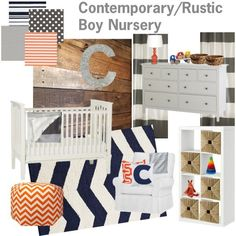 Orange Grey And Navy Nursery Rustic Gray By