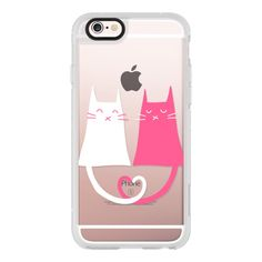 Cat Love - Heart - Pink - White - iPhone 6s Case,iPhone 6 Case,iPhone... (585 ARS) ❤ liked on Polyvore featuring accessories, tech accessories, iphone case, apple iphone cases, white iphone case, iphone cases, clear iphone cases and cat iphone case