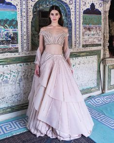 """Gaurav Gupta on Instagram: """"The Blush Pink Roman Geometric Lehenga with glistening glass shaded embroideries I Gaurav Gupta Couture • #GauravGuptaCouture #GauravGupta…"""" Desi Wedding Dresses, Wedding Dresses With Straps, Indian Wedding Outfits, Bridal Outfits, Wedding Wear, Boho Wedding, Fall Wedding, Rustic Wedding, Wedding Gowns"""