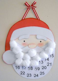 Paper Creations by Kristin: Santa Countdown to Christmas. Each day you have your child glue a cotton ball and countdown!  By the time Christmas is here, Santa has a full beard!