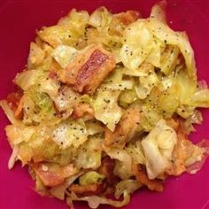 "Fried Cabbage with Bacon, Onion, and Garlic | ""It is a beautiful dish with many colors and full of flavor. Warning, it is addictive."""
