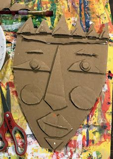 This week, grade will start their Kimmy Cantrell inspired cardboard relief mask! I was inspired