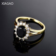 XIAGAO 2016 Fashion Flower Finger Ring for Women  Gold-color Big Oval Black Yellow Crystal CZ Zircon Party Rings Jewelry R088 #Affiliate