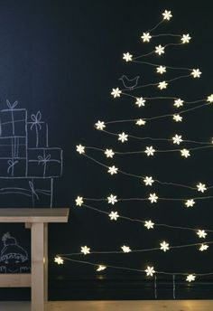 Chalkboard Christmas tree with lights