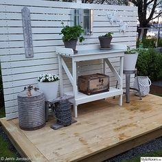 trädgård,trädäck,vitt,kolonistuga,zink