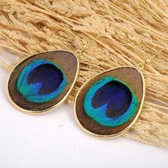 Gold Oval Green Peacock Plume Waterdrop Dangle Hook Earrings