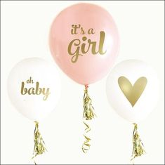 It's a girl! Celebrate with pink and gold balloons at your baby shower or gender reveal party. Decorate tables, chairs or use as photo props to mark your specia