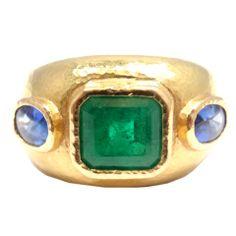 ELIZABETH LOCKE Emerald & Two Sapphire Yellow Gold Ring
