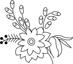 Flora's Colors: Free Hand Embroidery Pattern---Flower Bunch