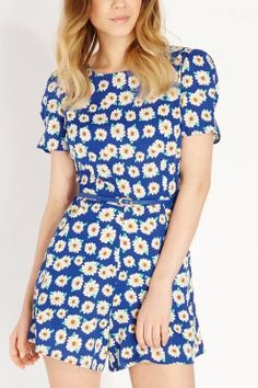 Sunflowers Printing Short Sleeves Blue Belted Jumpsuit
