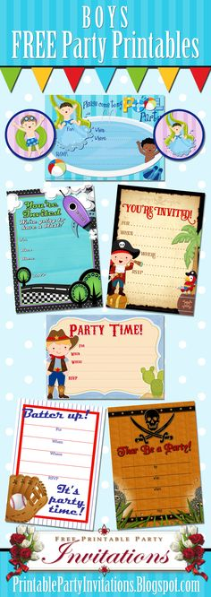 FREE DIY Printable Boys Party Invitations and Cupcake Toppers