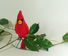 Miniature Needle Felted Red Cardinal Bird Fiber Art Soft Sculpture - pinned by pin4etsy.com