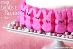 Easy Easter Bunny PEEP cake with thecelebrationshoppe.com