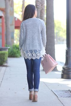 Grey Lace Hem Sweater 4