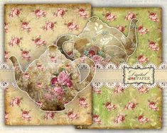 TEA paper and Teapot  digital collage  set of 3 by bydigitalpaper, $4.85