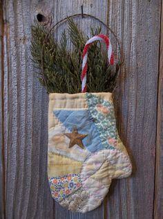 Prim Handmade Antique Cutter Quilt Mitten Ornaments with Preserved Cedar   eBay