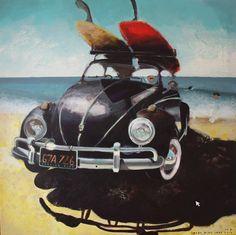 """""""surfing club"""" by Mary Wide Lake 100x100cm akryl na płótnie"""