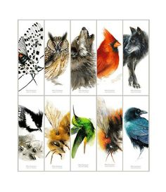 Animal Bookmarks - Set of 10 different bookmarks from original watercolors Crow Raven Moth Wolf Bumble Bee Cardinal Owl bookmark Watercolor Bookmarks, Watercolor Print, Crows Ravens, Watercolors, 6 Inches, Moth, Bee, Bright, The Originals